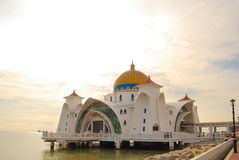 Mosque. Selat Melaka Mosque on the sea at Malacca Stock Photography