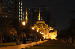 Mosque in Sharjah at night Royalty Free Stock Image