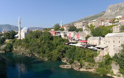 Mosque and Shops in Mostar, Bosnia Herzegovina Stock Photo