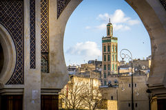 Mosque Sidi Ahmed Tijani in Fes. Green tiled minaret of the Mosque Sidi Ahmed Tijani in Fes, Morocco Royalty Free Stock Photography
