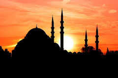 Mosque Silhoette and Sunset Stock Image