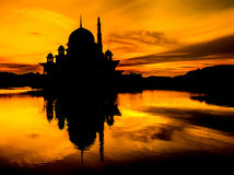Mosque Silhouete, Malaysia Royalty Free Stock Images