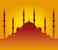 Mosque silhouette. Red mosque silhouette on sunset Stock Photography