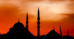 Mosque silhouette. At istanbul turkey Royalty Free Stock Image