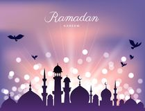 Mosque silhouette and abstract light for ramadan of Islam stock photo