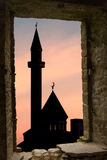 Mosque silhouette ancient window Royalty Free Stock Photo