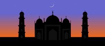 Ramadan mubarak, Crescent moon and beautiful mosque Royalty Free Stock Photos
