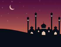 Mosque silhouette in the evening with stars and new moon. Illustration of Mosque silhouette in the evening with stars and new moon Stock Image