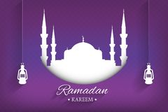 Mosque silhouette and handwritten ramadan kareem and hanging lamps with purple background, vector. Illustration, eps file vector illustration