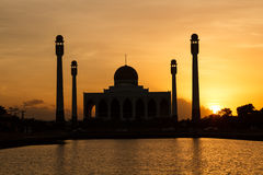 Mosque. Silhouette Image view of Center Mosque Songkhla in evening Stock Images