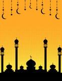 Mosque silhouette Islamic celebration banner Stock Photos