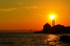 Mosque silhouette Istanbul on  sunset. Cityscape image in Istanbul Turkey at sunset. Bosporus sunset Stock Photography