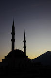 Mosque silhouette, Kemer, Turkey Royalty Free Stock Image