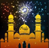 Mosque silhouette in night sky with crescent fireworks. Ramadan Kareem lantern design background. Illustration for greeting card, poster and banner Royalty Free Stock Image