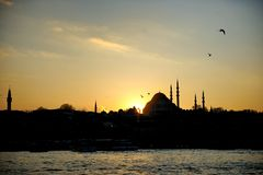 Mosque silhouette at sunset Royalty Free Stock Photography