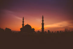 Mosque in silhouette. Sunset view Royalty Free Stock Images
