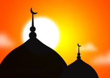 Mosque silhoutte. Against bright sunset Stock Photography