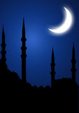 Mosque silhoutte. Islamic mosque silhouette with moon Stock Photo