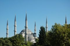 Mosque with six minarets in Istanbul, Turkey Royalty Free Stock Photos