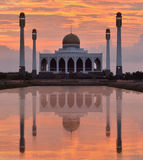 Mosque in Songkhla Thailand. On sunset and reflex with water Royalty Free Stock Images