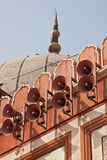 Mosque Speakers. Loudspeakers outside the Jami Masjid mosque in Delhi, used to call the faithful to prayer stock images