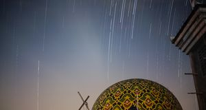 Mosque 80%. Startrails longexposure cibaduyut street Stock Photography