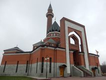 Mosque in the suburbs of moscow in november stock photography