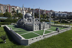 Mosque of Suleymaniye Mosque. Model of Suleymaniye Mosque in Miniaturk,Istanbul.Miniaturk is a miniature park which contains models of famous structures from Stock Photo