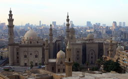 Mosque of Sultan Hasan and cityscape of Cairo Stock Image