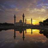 Mosque with sunrise background Stock Photo