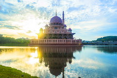 Mosque with sunrise background Stock Image