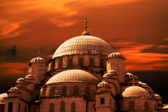 Mosque sunset. Mosque. Mosque concept. Mosque and blue sky Royalty Free Stock Images