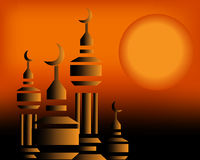 Mosque in the sunset. Islamic Art Mousge in the sunset between black and orange color Stock Images