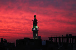 Mosque with sunset in egypt in africa Royalty Free Stock Photo