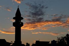 Mosque sunset silhouette in Doha Qatasr Royalty Free Stock Photos