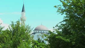 The Mosque is surrounded by trees stock video footage