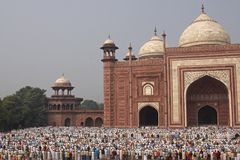 Mosque at the Taj Mahal Stock Photo