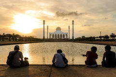 Mosque in Thailand. Photographers in front of the central mosque of Songkhla during sunset, Thailand Stock Image
