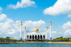 Mosque in Thailand. Mosque with the pond in foreground Royalty Free Stock Image