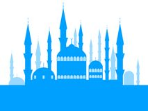 Mosque with towers, the place of the Muslim faith. Ramadan Kareem. Muslim festival of lights. Celebratory banner. Vector. Illustration Stock Image