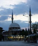 Mosque. Turkish mosque with two minarets Royalty Free Stock Photo