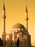 Mosque with two minarets in. Baku, Azerbaijan at sunset Stock Images