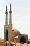 Mosque with two minarets. In Yazd, Iran Royalty Free Stock Photo