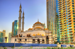 Mosque under construction in Dubai Marina district Royalty Free Stock Images