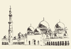 Mosque vintage illustration hand drawn sketch Royalty Free Stock Photos