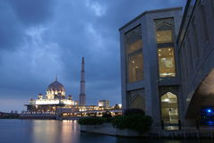 Mosque On Water Night Scene Stock Photo