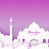 Mosque Window Ramadan Kareem Greeting card with arabic pattern. Royalty Free Stock Image