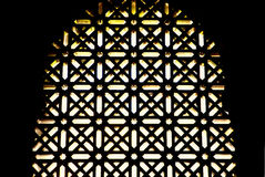 Mosque windows latticework. The prayer hall most notable for its arcaded hypostyle hall, with 856 columns of jasper, onyx, marble, and granite. These were made Royalty Free Stock Images