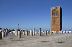Mosque of Yakub al-Mansur and Hassan tower. 44-meter Hassan Tower (minaret) and the columns of unfinished mosque. The construction of the mosque, which was to Stock Images