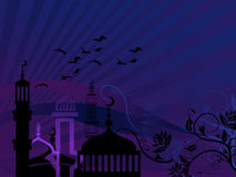 Mosques against starry night Royalty Free Stock Photo
